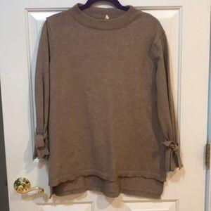 Boutique Tan Tie Cuff Sleeve Sweater M/L EUC